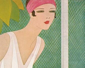 1927 Vogue Tennis Trendy Cover Vintage 1980 Fashion Print Harriet Meserole Art Preppy Sporty Suzanne Lenglen Athletic Sports Gym Wall Decor