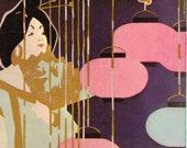 1896 J. Manz Co. Asian Lantern Geisha Chicago Sign Oriental Fan Zen Gift Kimono Japanese Japonism Chinese Chinoiserie Wall Art Print Decor
