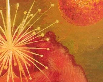 1943 Frida Kahlo Digital Printable Flame Flower of Life Painting Downloadable Print Bohemian Artist Wall Decor Clipart Senorita Feminism