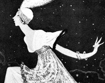 1910s Poiret le Magnifique Digital Printable Georges Lepape Fashion Illustration Bohemian Gypsy Harem Couture Designer Image Clipart Graphic