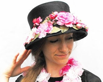 1950s Rose Pink & Black Straw Hat Vintage Bucket Cloche with Bonnet Brim Floral Roses Kentucky Derby Garden Tea Party Martha Gene Millinery