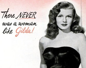 1946 Rita Hayworth Gilda Hollywood Movie Poster Ultimate Femme Fatale Film Noir Icon Sex Bombshell Dominatrix Sexy Pin Up Half Page Print Ad