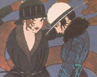 1925 Flapper Friends L'Automne Fall Fashion Illustration Paul Allier Art Deco Estampes Pour Votre Chambre Blue Brown Autumn Wall Decor Print