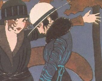 1925 Fall Fashion Flappers Digital Printable Autumn Decoration L'Automne Paul Allier Art Estampes Pour Votre Chambre Card 1920s JPG Download