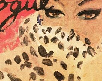 1940 Vogue Leopard Lady Cover Vintage 1980 Fashion Erickson Illustration Art - Haute Couture Fur Sex Kitten Cat Eyes Animal Print Wall Decor