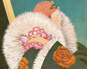 1927 Vogue Art Deco Diva Cover Vintage Original Plank Fashion Print Luxury Fur Haute Couture Ziegfeld Follies Flapper Starlet 20s Wall Decor