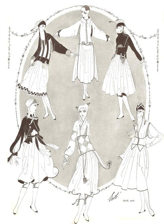 1916 Erte Foxy Harlequin Fashion Design Harpers Bazaar