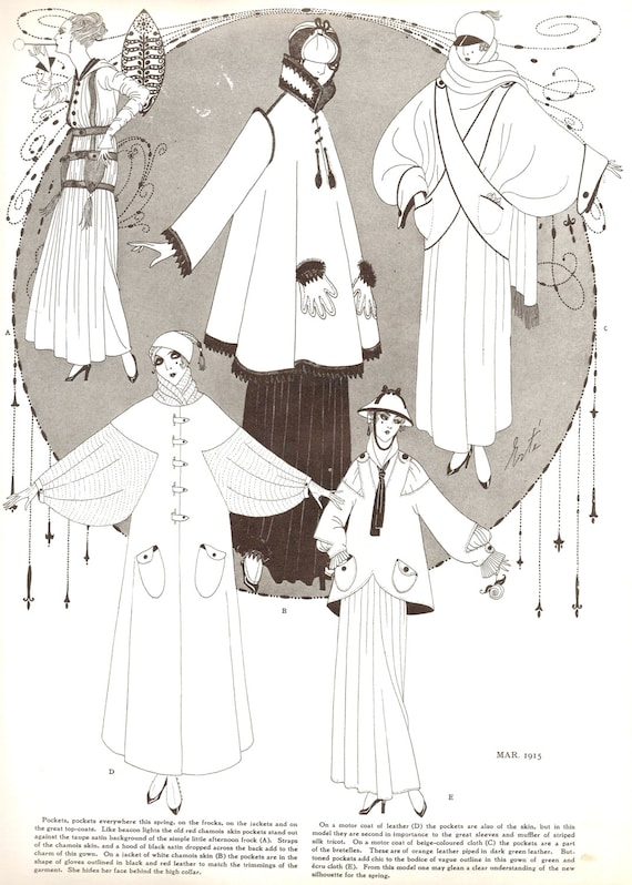 1915 Erte Dress Coat Fashion Design Illustration Art Vintage Etsy