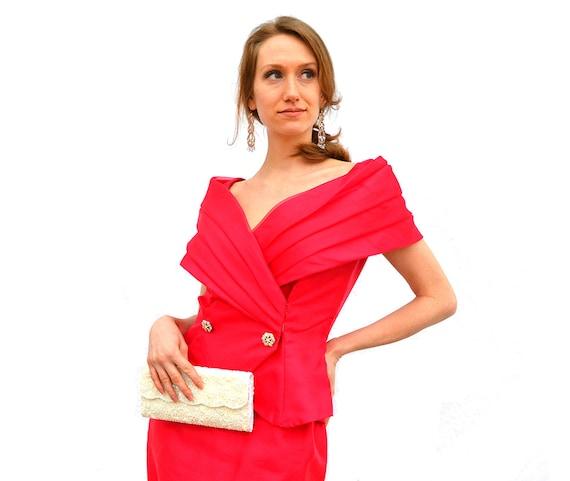 1980er Jahre heißen Rosa Schal Kragen Kleid Hollywood Glamour   Etsy 4b0c286c55