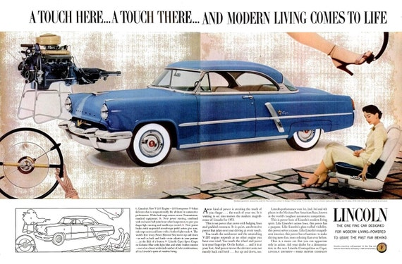 1953 Lincoln Capri Blue Car Ad Acrilan Fiber And Red Heart Etsy