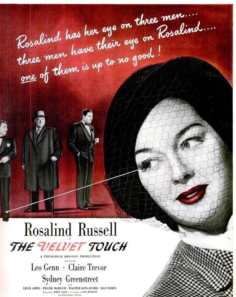 1948 Rosalind Russell The Velvet Touch Old Hollywood Movie Poster Film Noir Scarlet Red Black White Color Splash Millinery Fashion Art Decor