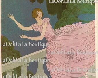 1921 Vogue Cinderella Cover Fairytale Fashion Digital Print Vintage Harriet Meserole Art Nouveau Princess Pink Printable Wall Decor Download