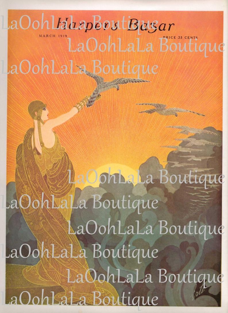 1919 Harper's Bazar Digital Print Fashion Cover Erté Art Bazaar Celestial  Clouds Sun Goddess Printable Party Decor Bird Invitations Download
