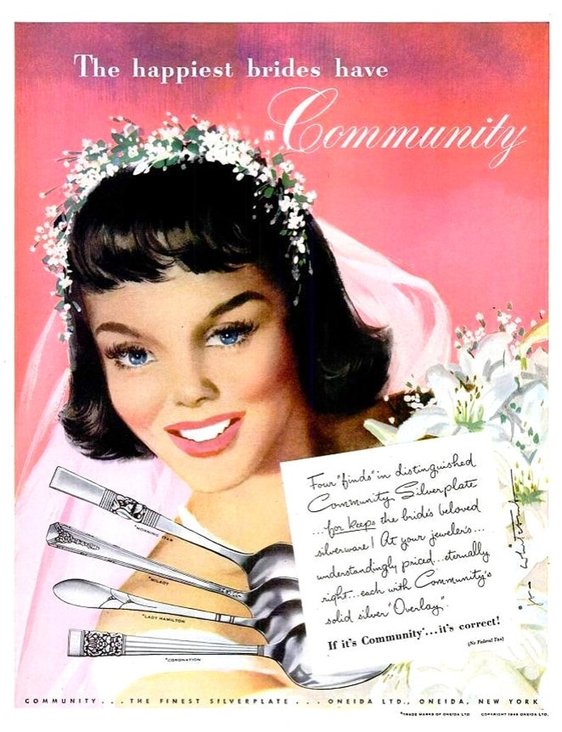 Advertising Original Print Ad 1946 Community Silverplate This Is For Keeps Jon Whitcomb