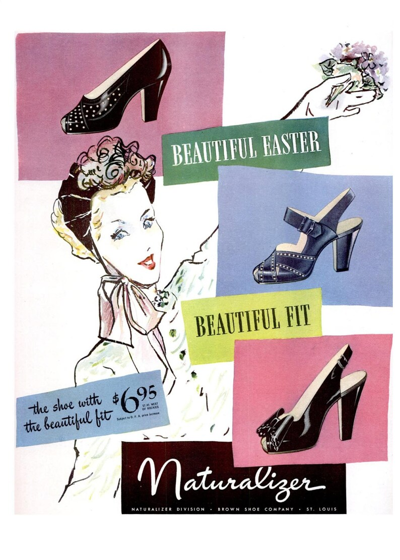 02440037b4ba7 1946 Naturalizer Shoes and A&P Jane Parker Hot Cross Buns Ad Spring  Millinery Floral Easter Decoration Vogue Fashion Illustration Pastel Art