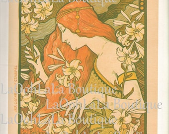1897 L'Ermitage Digital Print Paul Berthon Art Nouveau French Poster Absinthe Lily Goddess Belle Époque Printable Download Graphic JPG Image
