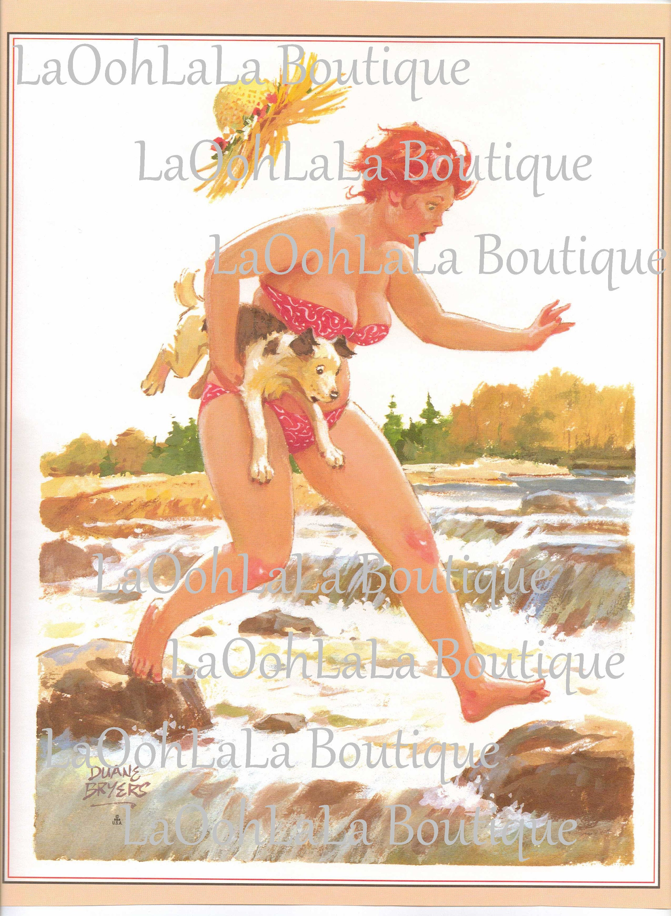 15s Body Positive Fearless Feminist Art Pinup Digital Print Vintage Hilda  Pin Up Summer Card Image Clipart Brave Dog Curvy Woman Printable