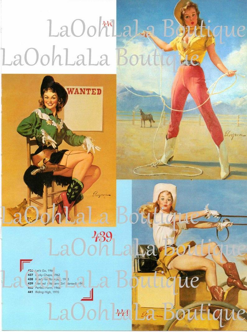 Elvgren sexy cowgirl collage sheets