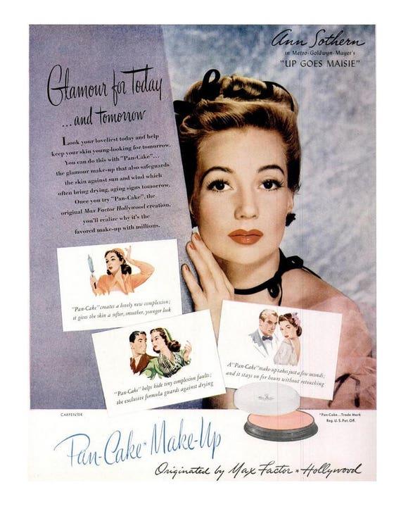 1946 Ann Sothern Max Factor Hollywood Makijaż Mobiloil Ad Etsy