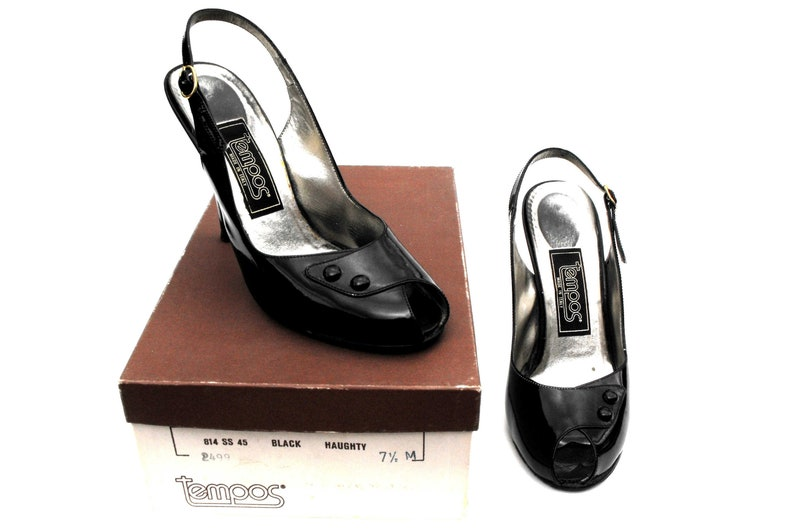 425b526723f11 1960s Patent Leather Peep Toe Stiletto High Heels Vintage Tempos Button  Slingback Pumps Original Shoe Box Sexy Black Noir Shoes Size 7 1/2 M