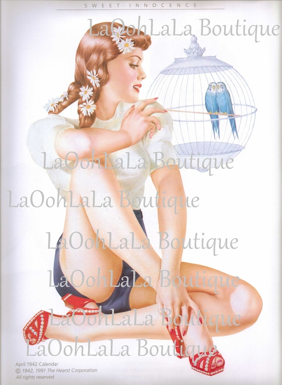 Prime 1942 Bird Lover Belle Digital Printable Retro Pin Up Girl Teen Etsy Funny Birthday Cards Online Sheoxdamsfinfo