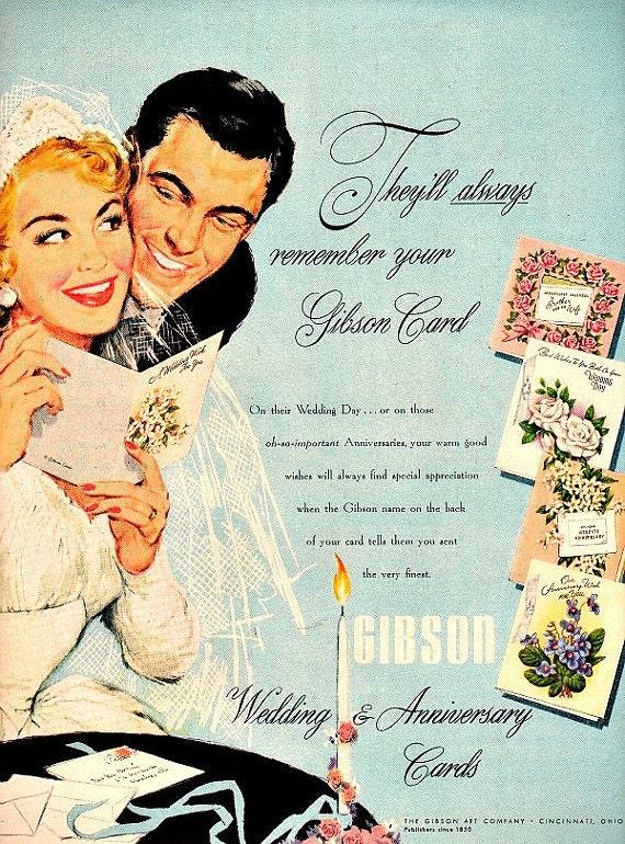 1953 Gibson Wedding Advertisement Romantic Bride Groom Retro Etsy