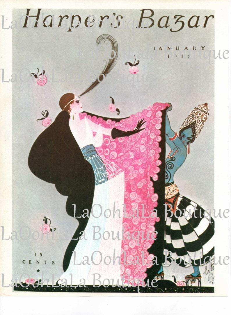 1915 Harper's Bazar Digital Print Fashion Cover Erté Art Arabian Blue Genie  Printable Princess Party Invitations Invites Decoration Download
