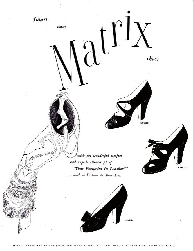 1949 Matrix Fashion Shoes Advertisement Vintage Black White