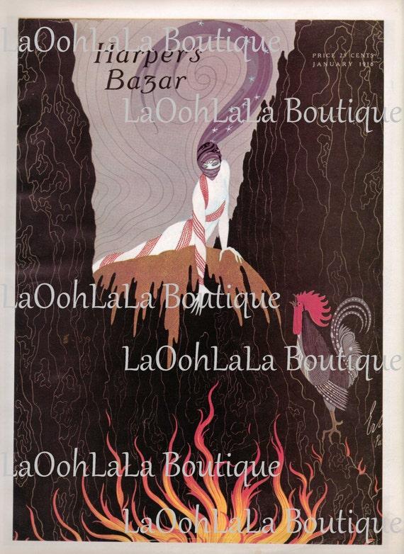 1918 Bazar numérique impression mode harper Cover Art Erté Bazar Gypsy Harem Bellydancer décoration fête imprimable carte Invitations téléchargement