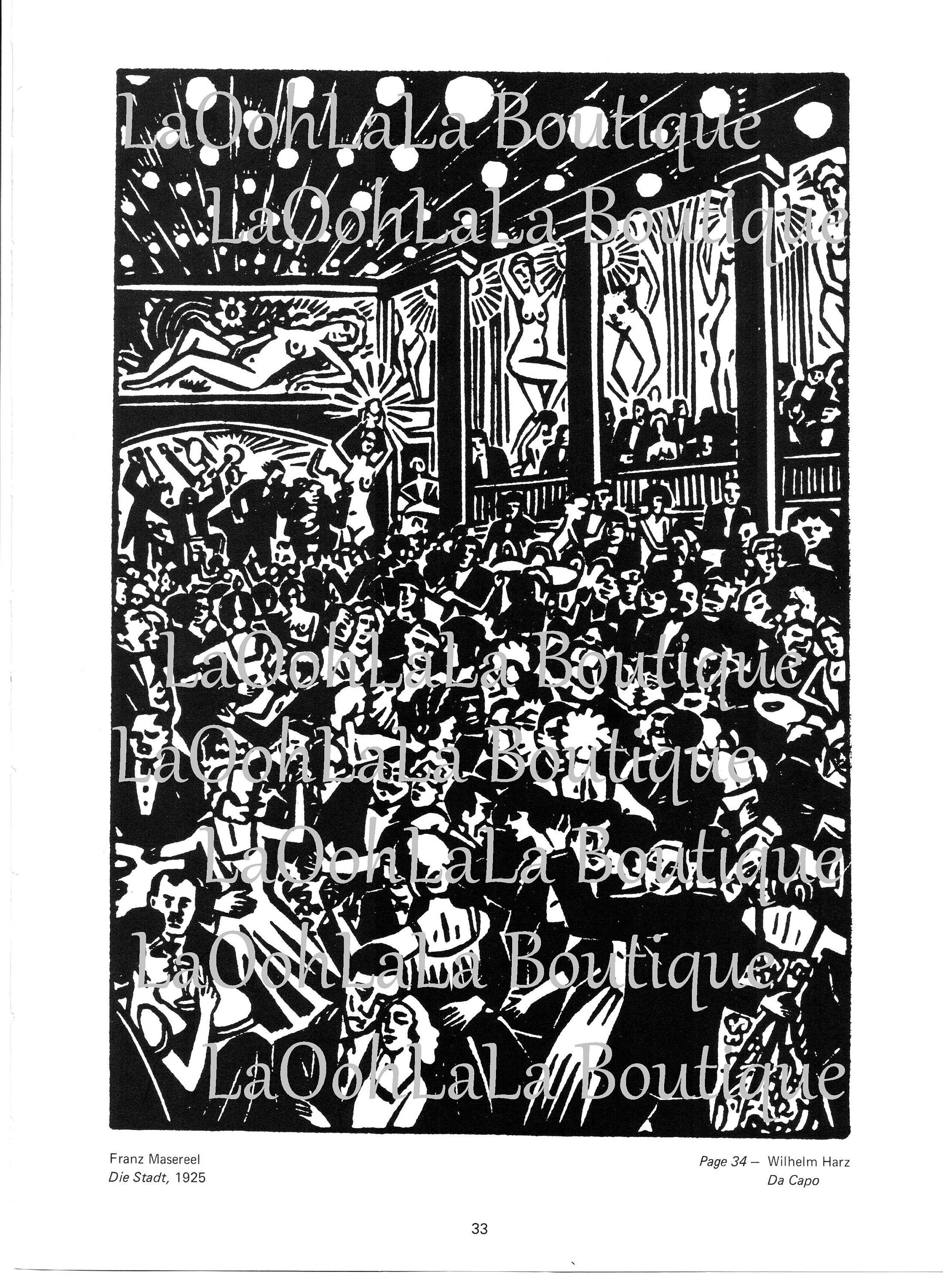 1925 City Erotica /& New Year/'s Eve Jazz Vintage Double Sided Lithograph Print Frans Masereel Black and White Woodcut Art Deco 20s Wall Decor