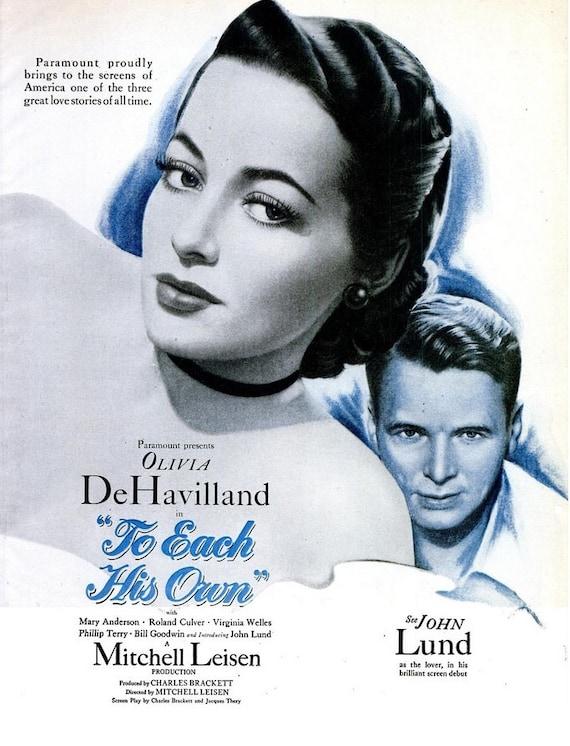 1946 Olivia de Havilland To Each His Own Hollywood Movie   Etsy