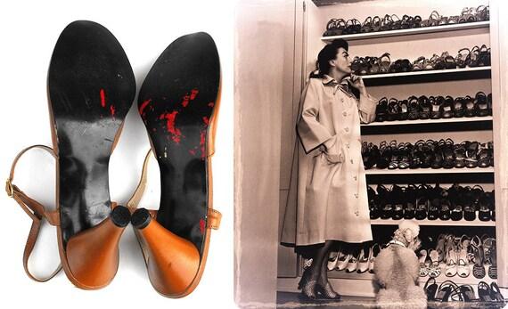Peep Toe Toffee Pumps Vintage 1960s 1970s Marquise Designer Hollywood Regency Joan Crawford Style Caramel Scalloped Edge Ankle Strap Heels
