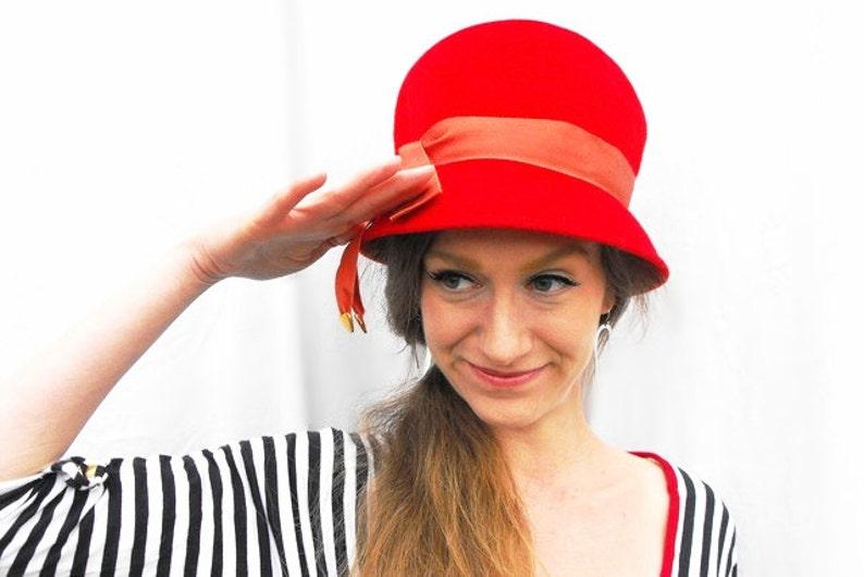 51197e0725403 1960s Mod Cherry Red Gogo Hat Swinging London Sixites Atomic