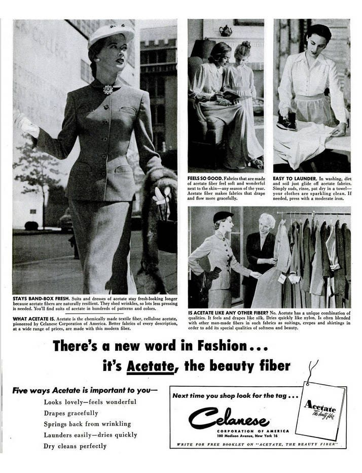 b83cf972e 1951 Celanese Fashion Advertisement Print Ad Poster Women
