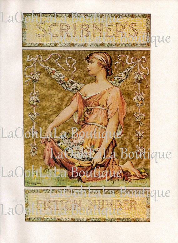 1895 Grecian Goddess Scribner S Will Low Art Nouveau Woman Greek God Aphrodite Illustration Lithograph Typography Library Fiction Wall Decor