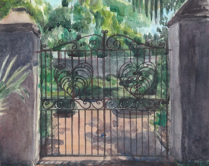 Charleston Watercolor Garden Gate Painting Print