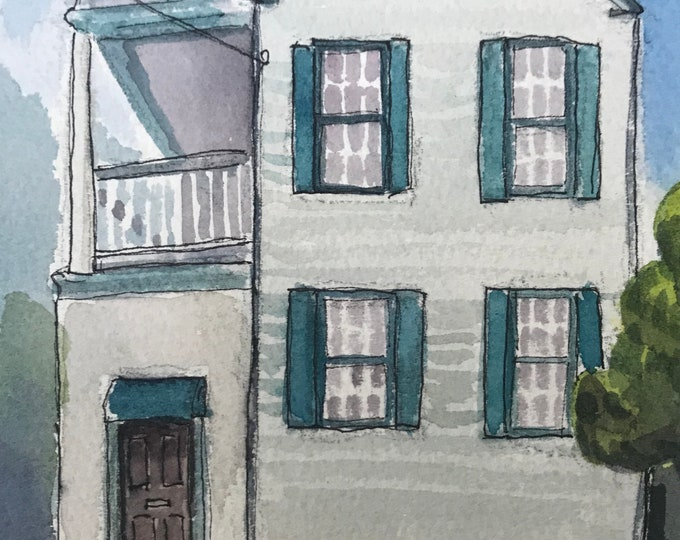 Charleston Watercolor 5x7 House painting