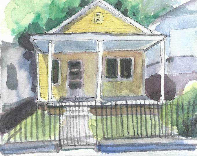 Charleston Cottage Watercolor 5x7 Original Painting