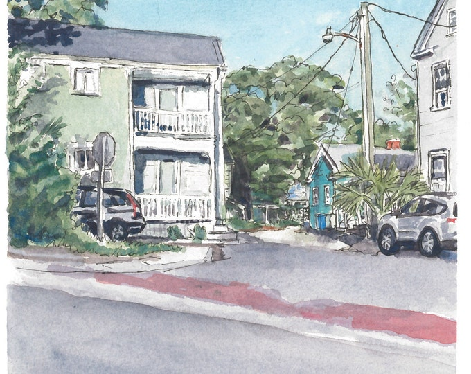 Charleston Houses Watercolor Painting Print