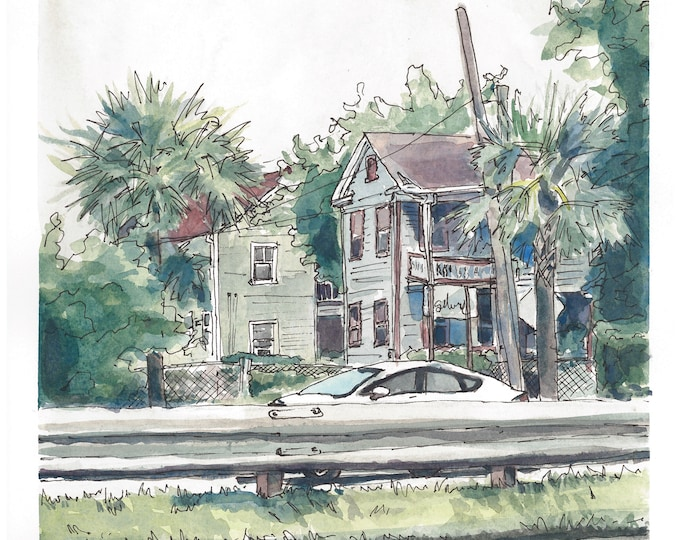 Charleston Single Houses Watercolor Painting Print