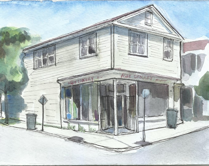 Charleston Corner Store Watercolor 7x5 painting
