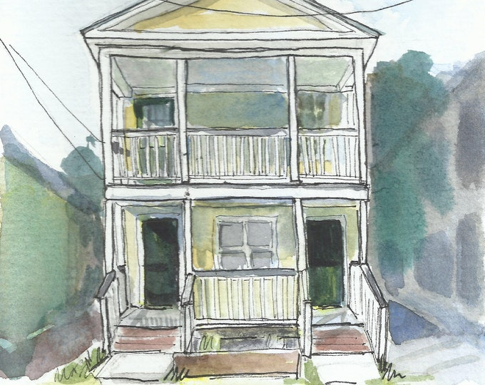 Charleston House Watercolor 5x7 Original Painting