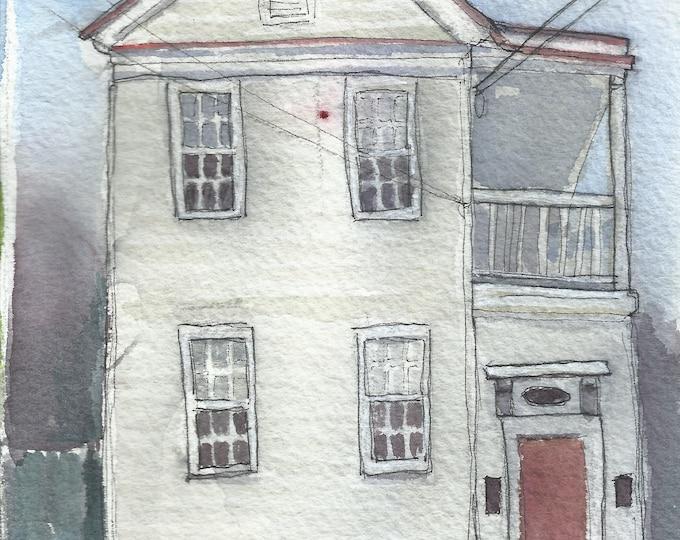 Charleston Single House Watercolor 5x7 Original Painting
