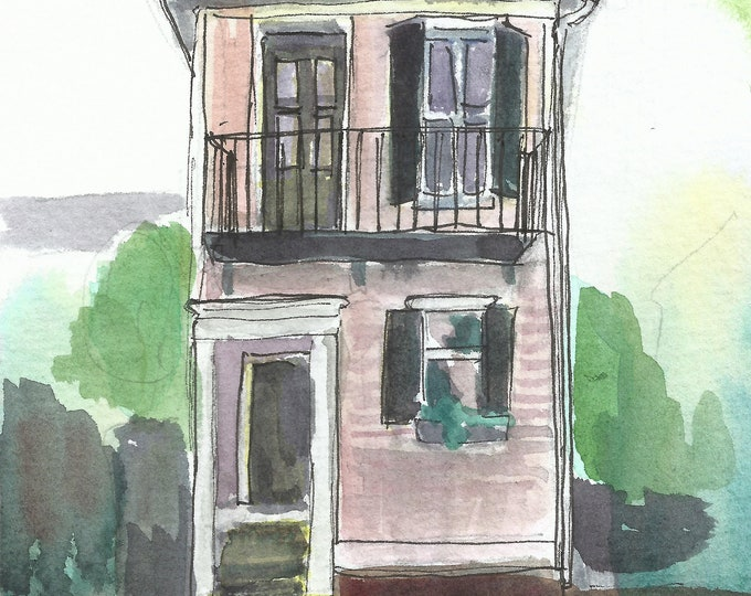 Charleston Single House Watercolor 5x7 Original Painting Pink