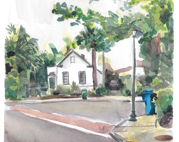 Charleston Home Watercolor Street Scene