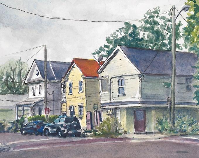 "10""x8"" Charleston Houses Watercolor Print"