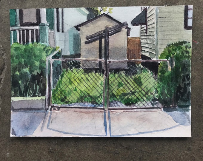 Charleston Watercolor 5x7 Clothesline Painting