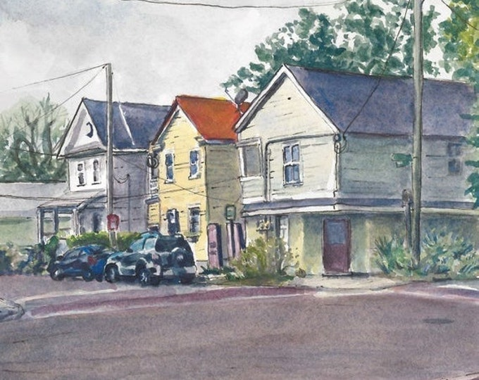 5x5 Watercolor Painting Print Charleston Houses