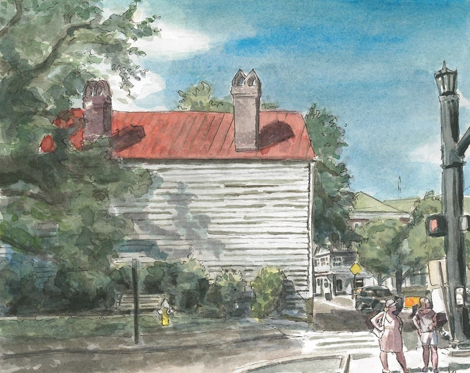 Charleston Houses Architecture Watercolor Painting Print