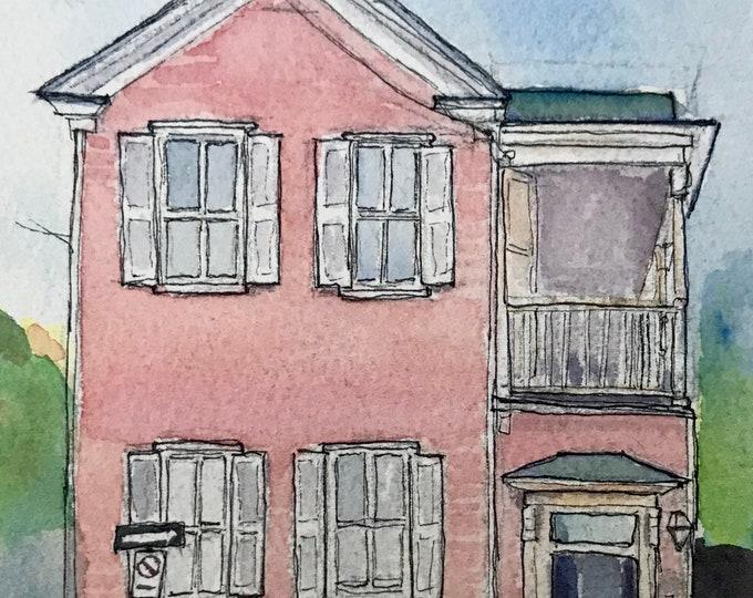 Pink Charleston Single House Watercolor 5x7